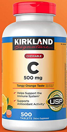 Kirkland Vitamin C (500 mg), Tangy Orange, Chewable Tablets, 500 Count