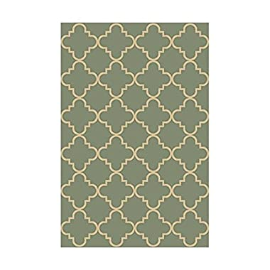 Anti-Bacterial Rubber Back AREA RUGS Non-Skid/Slip 3x5 Floor Rug | Ocean Blue Moroccan Trellis Indoor/Outdoor Thin Low Profile Living Room Kitchen Hallways Home Decorative Traditional Rug