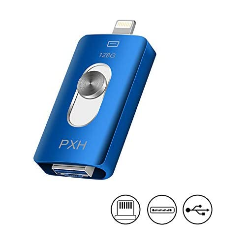 Flash Drive for iPhone 128GB,PXH USB Stick iPhone Memory Stick External Storage,Photo Stick USB Drive for Apple iPhone iOS MAC Android and Computer (Blue 128GB)