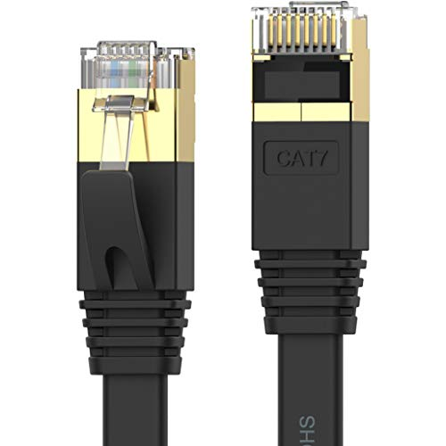 Senetem Cat 7 Ethernet Cable Shielded Gigabit Flat Cat7 RJ45 LAN Cable High Speed Internet Network Patch Cord 10Gbps for Gaming PS4, Xbox One, PS3, PC Laptop Modem Router, Computer, POE