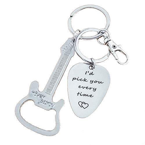 Lovers Pick - JUSTE Keychain Bottle Opener for Boyfriend Guitar Pick Gift for Dad Keychain with Hook I'd Pick You Every time for Lovers Present