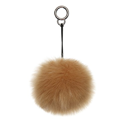 TEFITI Faux Fluffy Fur Ball Pom Pom Keychain Bags Charm Decor with Gold Ring Buckle