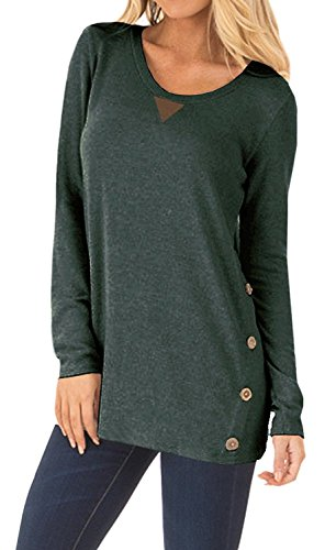 DEARCASE Women's Casual Long Sleeve Round Neck Loose Tunic T Shirt Blouse Tops Green Medium by DEARCASE (Image #3)