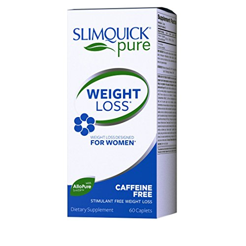 Slim Quick Pure Caffeine Free dietary supplement Caplets, 60 Count, Lose 3x the weight (Packaging May Vary)