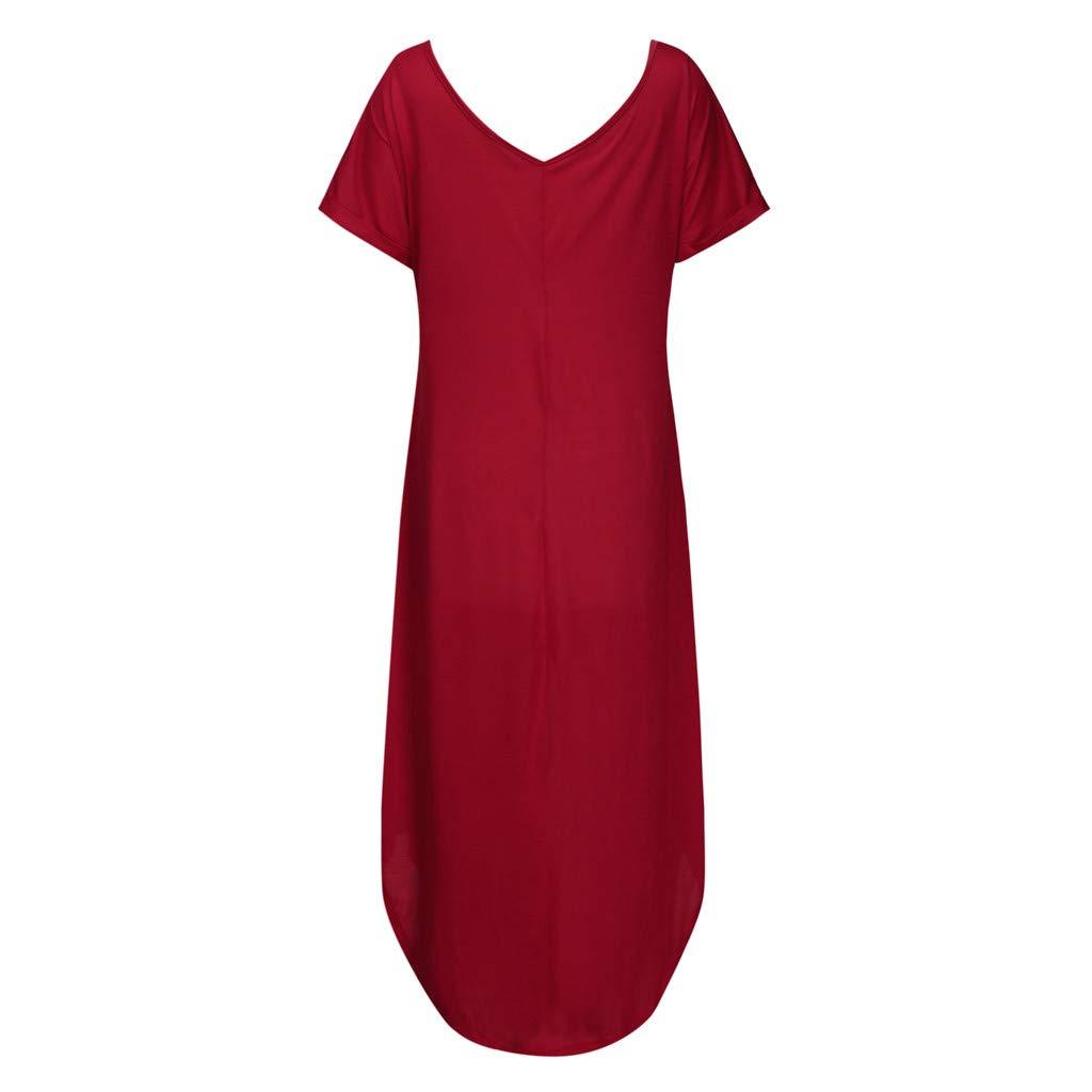 Clothing NREALY Vestido Womens Plus Size V-Neck Loose Long Dress Short Sleeve Side Split Maxi Dresses /(L/, Beige/)