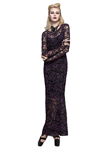 Devil Fashion - Vestido - trapecio - Manga Larga - para mujer morado