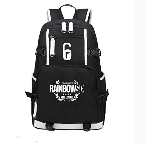 Rainbow Six Siege USB Charging Port Black Oxford Backpack Free R6 Keychain (#5)