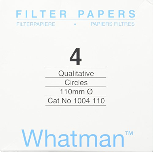 Whatman 4712N25PK 1004110 Grade 4 Qualitative Filter Paper, 110 mm Thick and Max Volume 1621 ml/m (Pack of 100) by Whatman