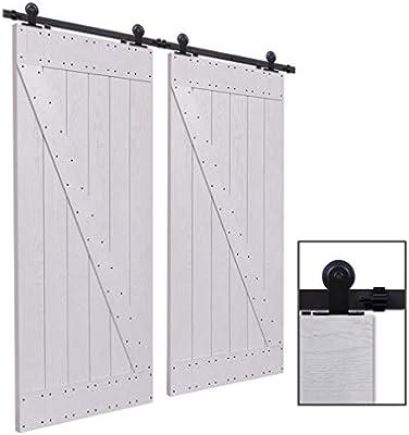 CCJH 9FT-274.5cm Herraje para Puertas Kit de Accesorios para Puerta Correderas Juego de Armarios de Acero Corredizos para Puertas Corredera Riel Rueda ...