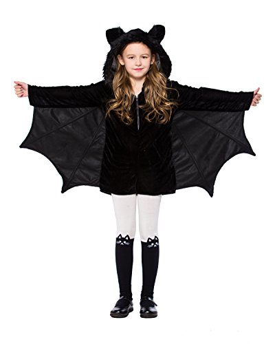Joygown Girl's Bat Halloween Dress Up Hooded One Piece Outfits Costume -