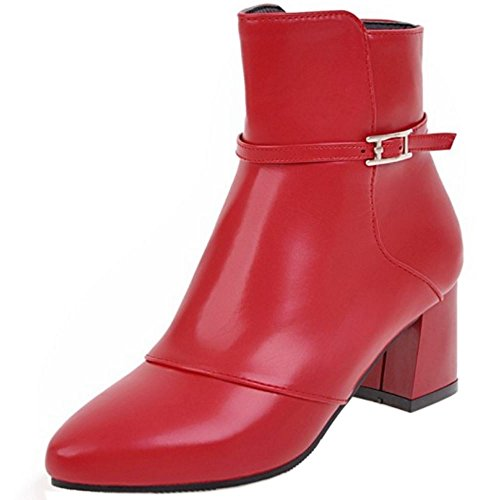 Booties Red COOLCEPT Women Fashion Zipper Boots XwESwq