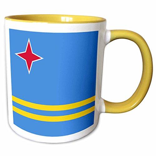 (3dRose InspirationzStore Flags - Flag of Aruba - Blue with red star and yellow stripes - Caribbean ABC island Leeward Lesser Antilles - 15oz Two-Tone Yellow Mug (mug_157821_13))