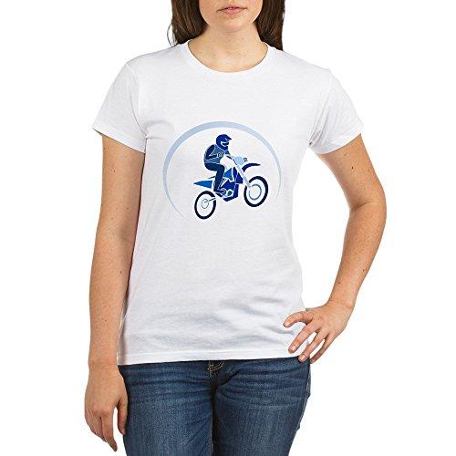 Truly Teague Organic Women's T-Shirt Motocross MX Flying Dirt Bike in Blue - XL