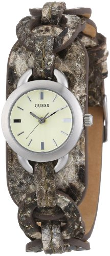 GUESS Womens Round Analog Watch Snake Pattern Leather Band W65013L1