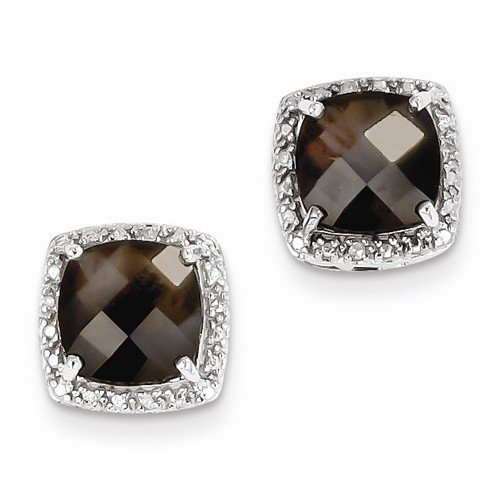 Solid 925 Sterling Silver Brown Simulated Smokey Quartz and Diamond Earrings (.04 cttw.) (13mm x 13mm)