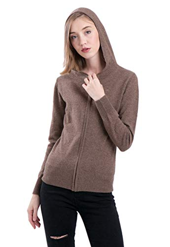 - LEBAC Women's 100% Cashmere Zip Up Sweater Pullover with Hood Brown