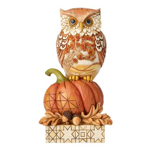 Enesco Jim Shore Heartwood Creek Harvest Owl on Pumpkin Figurine, 6.1