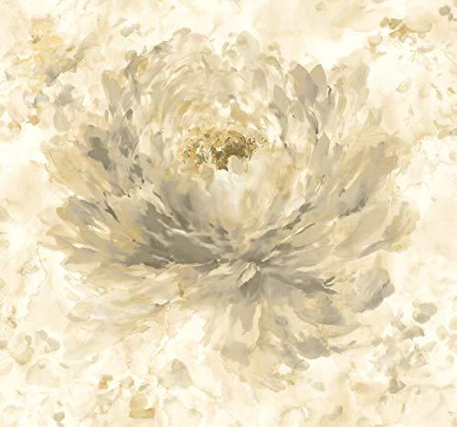 Floral Wallpaper Cream Bronze Metallic Shimmer Modern Flowers ()
