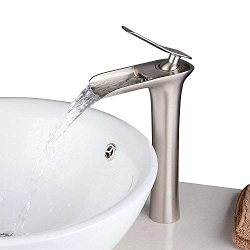 Beelee BL9009NH Single Handle Waterfall Spout Tall Lavatory Faucet, Brushed Nickel Finish ()