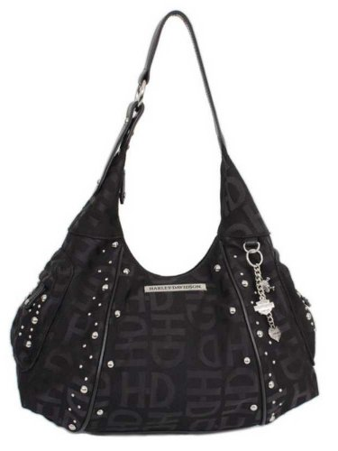 (Harley-Davidson Women's H-D Jacquard Hobo Purse Black HD3426J-Black)
