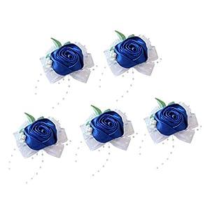 Fityle 5pcs Wrist Corsage Bridal Stretchy Bracelet Wedding Hand Flower Royal Blue 8 x 6 x 4 cm 37