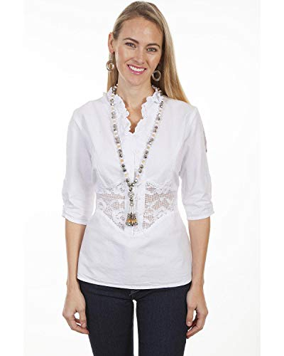 Scully Women's Cantina by White Lace Peek-A-Boo Blouse White Medium - Scully Lace Blouse