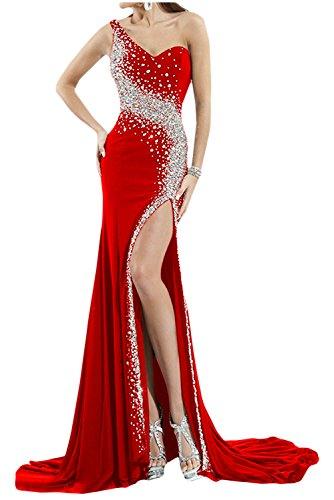 Acabado de la Toscana de novia de gasa noche largo ranura Rueckenfrei a bola de fiesta vestidos Rojo