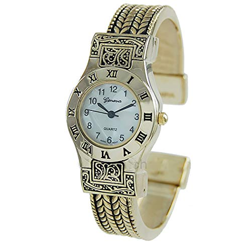 Rosemarie Collections Women's Stylish Mother of Pearl Rope Bracelet Open Cuff Bangle Watch