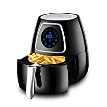 MDYYD Air Fryer Air Fryer Electric Hot Oven Oilless Cooker with Detachable Nonstick Basket Timer Temperature Control Electric hot air Fryer (Color : Black, Size : 2.8L)