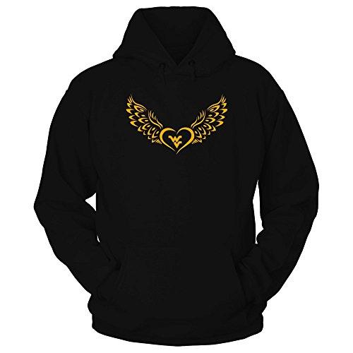 FanPrint West Virginia Mountaineers Hoodie - Flying Heart - Hoodie/Black/XL