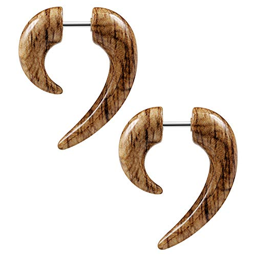 (BIG GAUGES Pair of Acrylic 16g Gauge 1.2mm Fake Plugs Wood Marble Spiral Tail Piercing Jewelry Ear Stretcher Taper Earring BG7646)