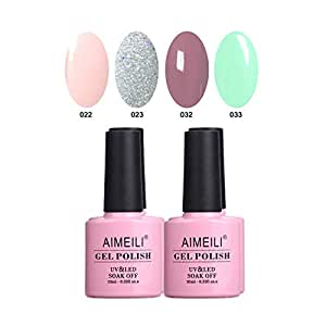 Aimeili Soak Off Uv Led Gel Nail Polish Multicolor / Mix Color / Combo Color Set Of 4Pcs X 10Ml - Kit Set 2