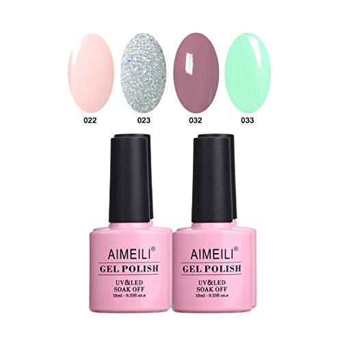 (AIMEILI Soak Off UV LED Gel Nail Polish Multicolor/Mix Color/Combo Color Set Of 4pcs X 10ml - Kit Set)