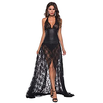 Limsea Women Sexy Artificial Leather Lace Lingerie Underwear Bodysuit Long Dress
