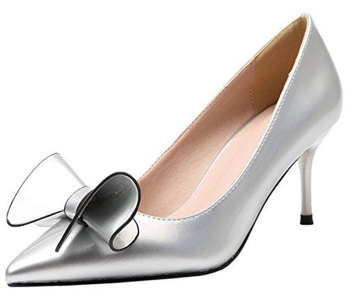 Robe Stiletto Sandales Doux Pointu Bowknot Escarpins De Femmes Argent Chaussures BIGTREE drnYp04n