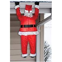 Colgante de Santa realista inflable con aire de Gemmy que cuelga de la canaleta - Decoración interior para vacaciones al aire libre, aproximadamente 6.5 pies de altura