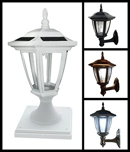 2-Pk Solar Hexagon Light w Fence Post Cap 6inch x 6inch universal. Finish White. LED Soft White