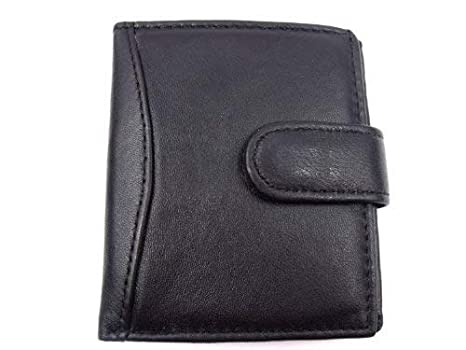 Sale Men/'s Luxury Soft  Black Leather Credit Card Holder Wallet 5HUK