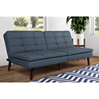 Premium Westbury Pillowtop Futon, Blue Linen, Pillow-Top Layer Provides Extra Comfort, Tufted Detailing, Bundle With Ebook For Home Furniture