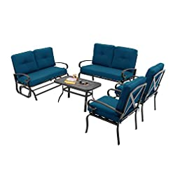 Garden and Outdoor Incbruce Outdoor Indoor Furniture 5Pcs of 6 Seats Patio Conversation Set (Swing Glider, Loveseat, Coffee Table, 2 Lounge… patio furniture sets