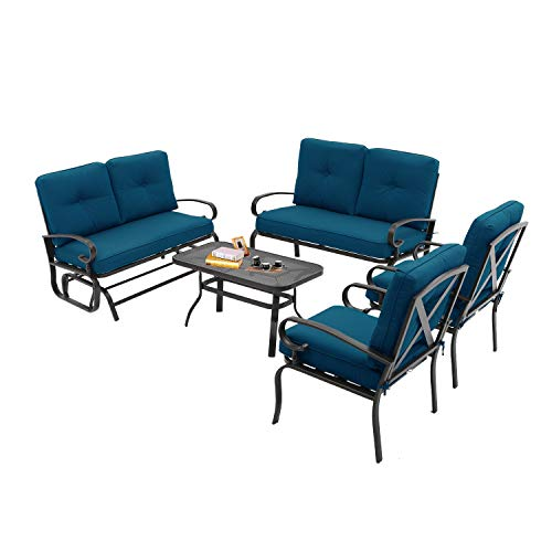 Incbruce Outdoor Indoor Furniture 6Pcs Patio Conversation Set (Swing Glider, Loveseat, Coffee Table, 2 Lounge Chairs) Swing Glider Chair and Wrought Iron Chair Sets, Peacock Blue Cushions (Metal Garden Set)