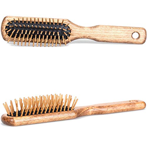 (Fendrihan Rectangular Olivewood Pneumatic Hairbrush with Wood Bristles 8