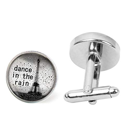 Artwork Store Mens Stainless Steel Cuff Links Dance in The Rain Inspirational Quote Personalized Cufflinks Business Party Wedding]()