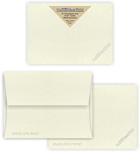 5X7 Blank Cards with A-7 Envelopes - Soft White Parchment Lo