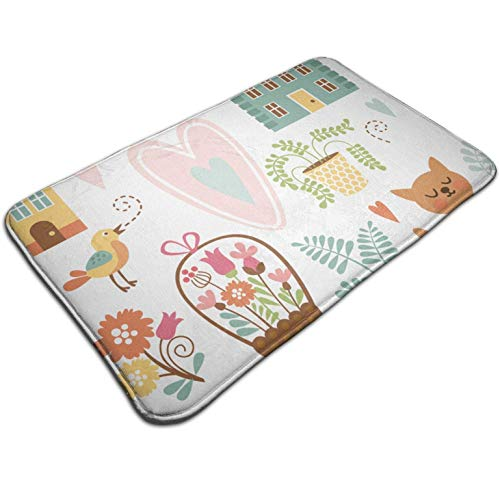 Tuoneng Life is Better with Cats Kitty Graphic,Bath Mat Indoor Outdoor,Entrance Rug Floor Mats Square 19.5W X 31.5L Inches