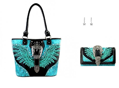 montana-west-buckle-wings-concealed-weapon-carry-gun-purse-wallet-earrings-set-black-turquoise