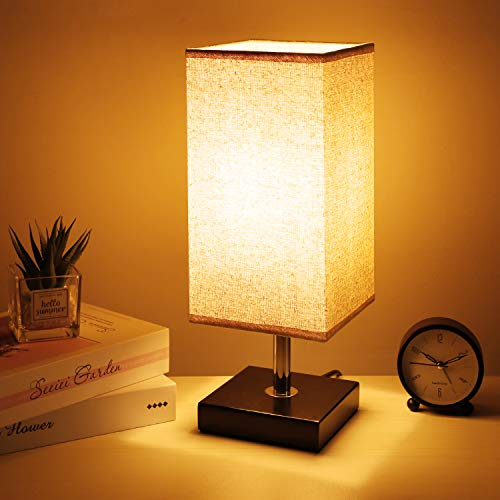 Bedside Table Lamp, Kakanuo Solid Wood Table Lamp, Nightstand Lamp with Square Flaxen Fabric Shade for Bedroom, Living Room, Office