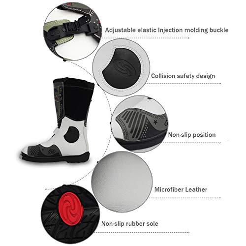 DSFGHE Stivali Stivali da Moto Alti da Uomo Anti-Slip Antipioggia da Motociclista Stivali da Crociera Impermeabili Scarpe da Protezione Calde Black