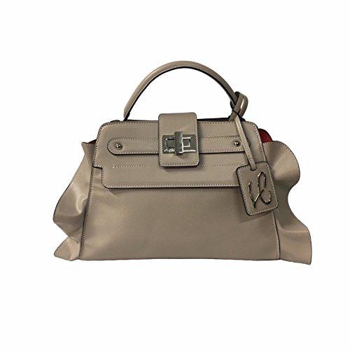 LA CARRIE BAG borsa tortora/rosso interno ecopelle mod FRAPPE LATO SHOPPING BIG