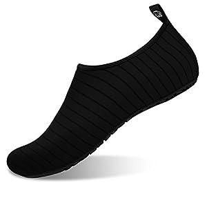 JOINFREE Men's Water Shoes Women's Water Footwear Quick-Dry Kid Aqua Shoes Swim Shoe for YOG Line Black Large
